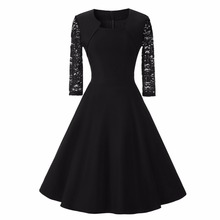 Women Vintage Dress Lace Three Quarter Sleeve O-Neck A-Line Back Zipper Elegant Retro Party Dress