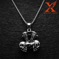 Men's Rocker Biker 316L Stainless Steel Silver Black Skull Engine Pendant