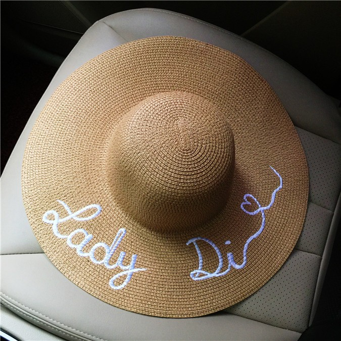 Sunny Embroidered Large Straw Sun Hat