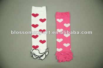 Valentines day pink with white print baby legwarmers with white ruffle
