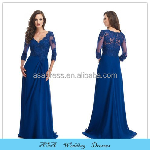 Fashion Elegant Plus Size Evening Dress Wedding Sheer Lace Sleeve Sexy Royal Blue Mother Of The Bride Dresses Gown2015