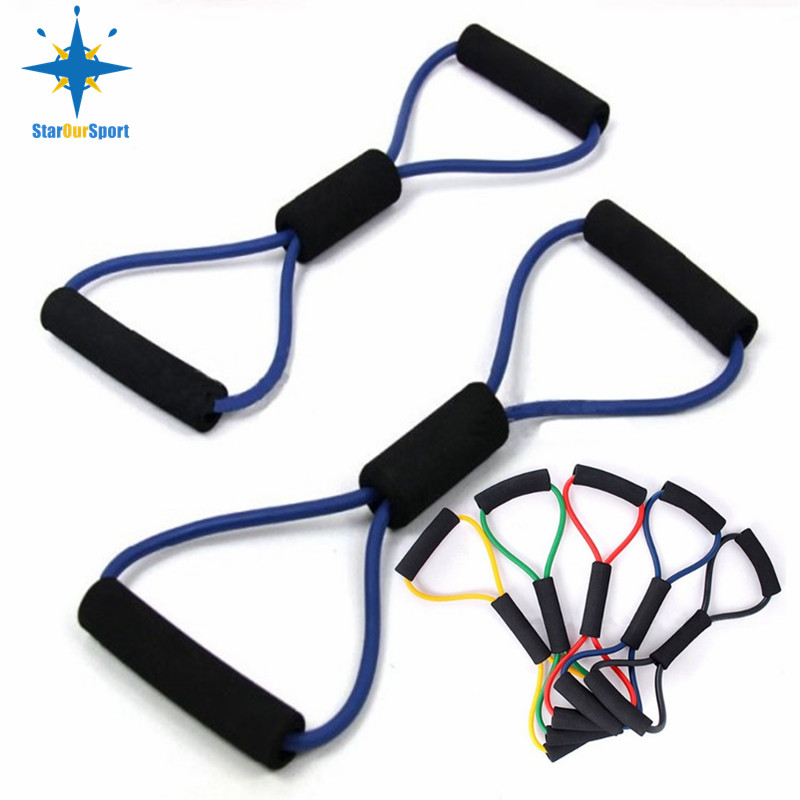 8 shaped Chest Developer Fitness <strong>Resistance</strong> Bands Exercise Tube expander for pulling sport tube equipment