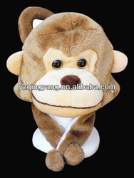 Hot selling soft animal cute and realistic soft plush monkey hat & scarf toy