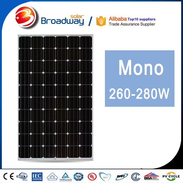 Solar Power System Mono Solar Panel 260 60KW Grid Tie Solar Panels Commercial Use