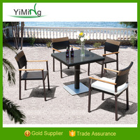 Outdoor PE rattan chinese furniture antique chairs with teak arm dining set