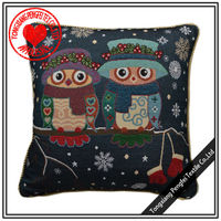 Abstract jacquard winter owl design decorative pillow case