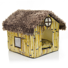 Machine-washable dog house with smooth thatch roof simulation bamboo house for dog cat