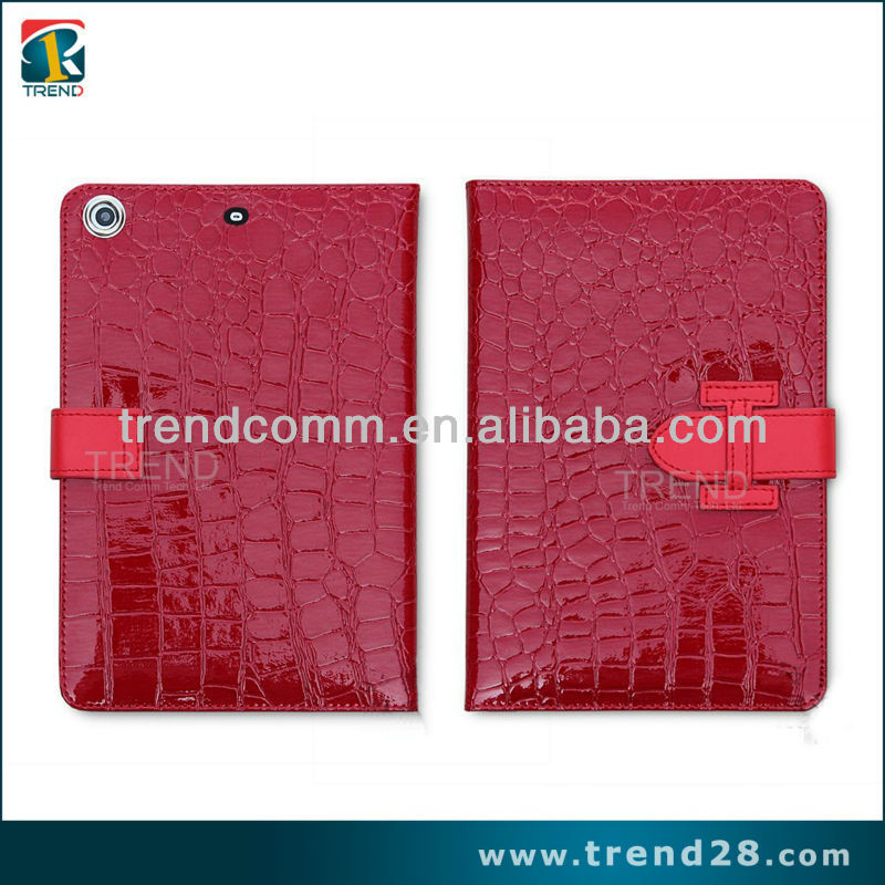 wholesale hot sell glossy cell pattern PU smart cover case for ipad mini2
