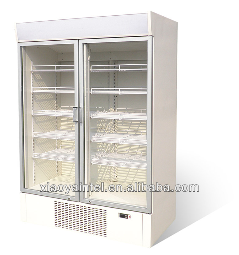 China Little Duck Commercial Double Door Refrigerated Showcase E7 Fresh Meadows with CE certification