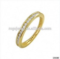 Gold plated 925 sterling silver light cz silver ring