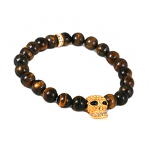 Skull Tiger Eye Chain Bracelet Wholesale Natural Stone Jewelry