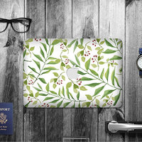 New design green leaf removable reusable adhesive vinyl leather laptop skin for laptop macbook air