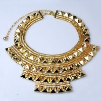 Luxurious fashion fake gold plate necklace collar