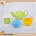 Colorful made unique design grain basket eco-friendly porcelain ceramic tea pot