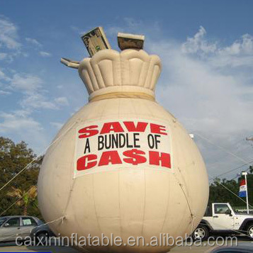 Giant decoration inflatable money bag for sale