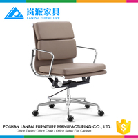 Ribbed mid back optional color leather office work chair EM01B