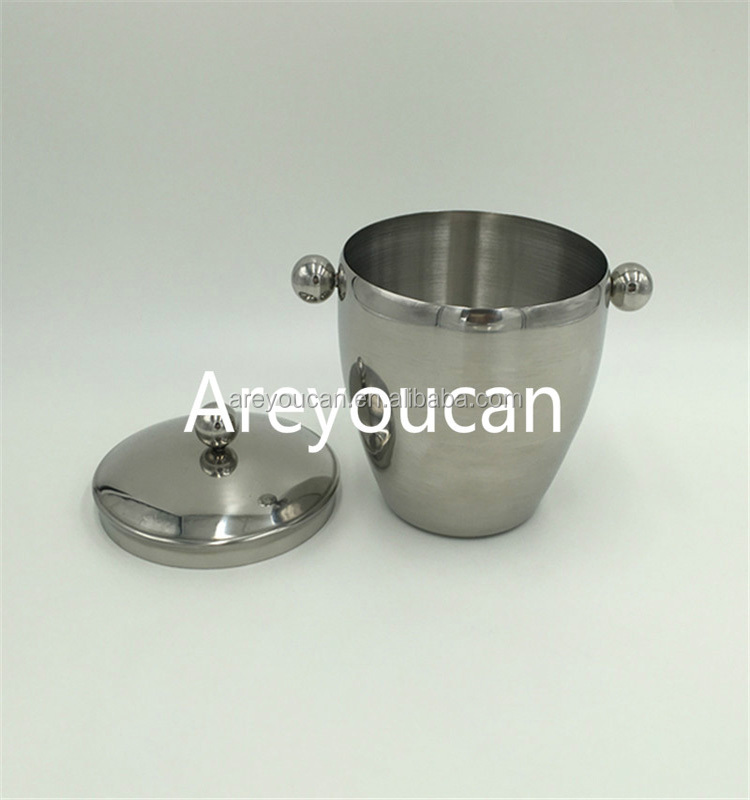 Double Wall Stainless Steel Ice Bucket Champagne Bucket For Bar& Restaurant