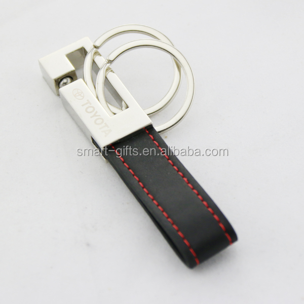 Black PU leather keychain with double rings