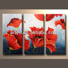 Wholesale abstract simple design red flower oil painting