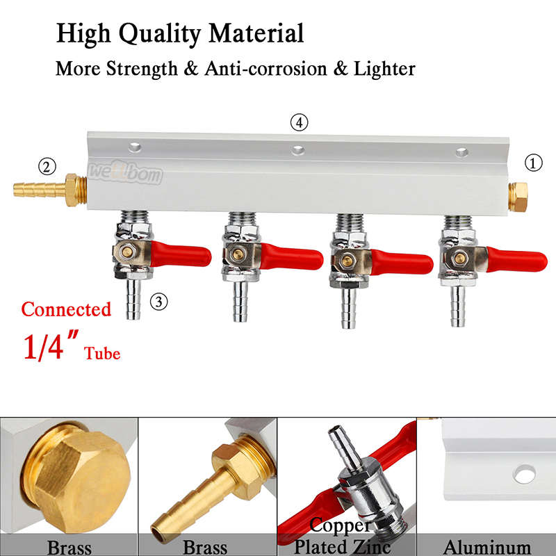 4 Way CO2 Gas Distribution Manifold with Safety Check Valves 7mm Hose Barb Beer Kegerator Home Brewing
