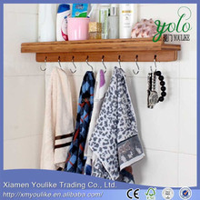 hanging Bamboo wooden towel Rack with 8 hooks