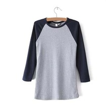 Top Quality Women Custom Two Color Plain Raglan Top 3/4 Sleeve Baseball T Shirt Wholesale In China