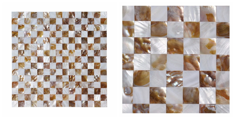 Decorstone24 Square Design White Shell Mosaic Tiles Mother Of Pearl Seamless Backsplash Panel