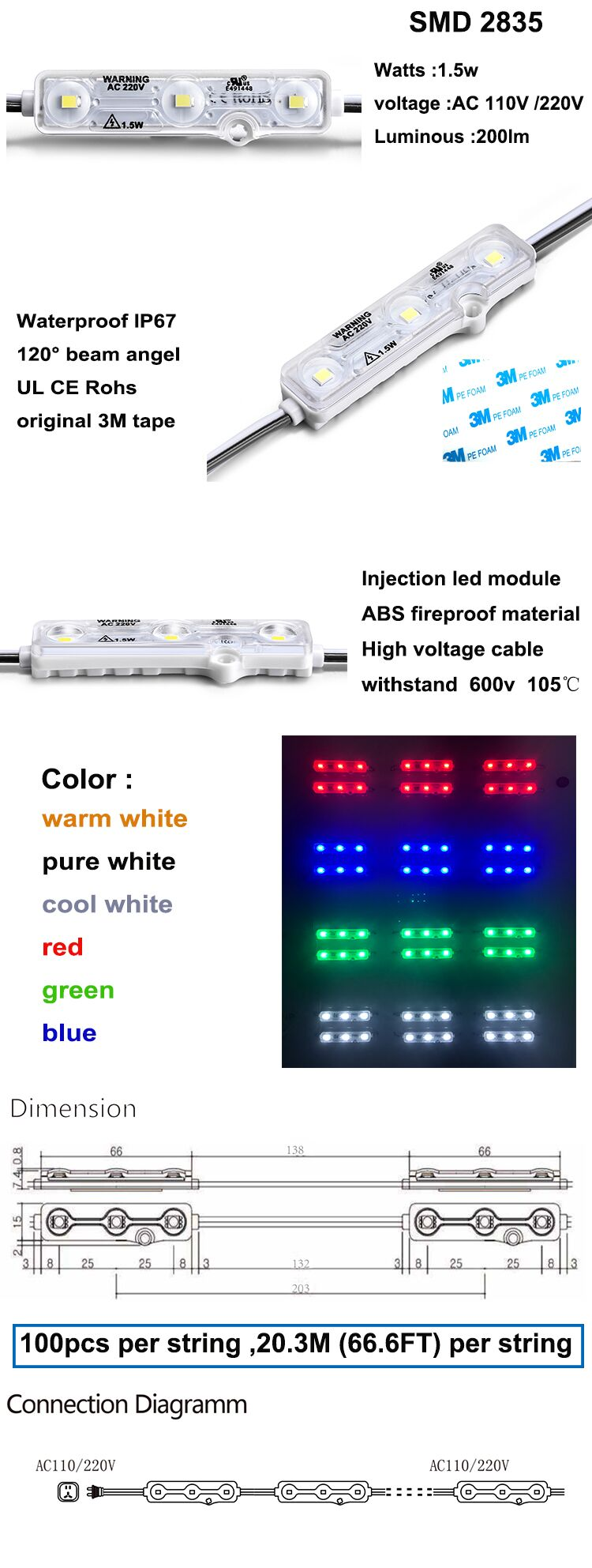 2 years warranty 0.72w 66lm 110v AC/220v 5730 led module high voltage LED MODULE 220V