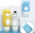 Portable travel silicone bottles cute cartoon silicone travel bottle set