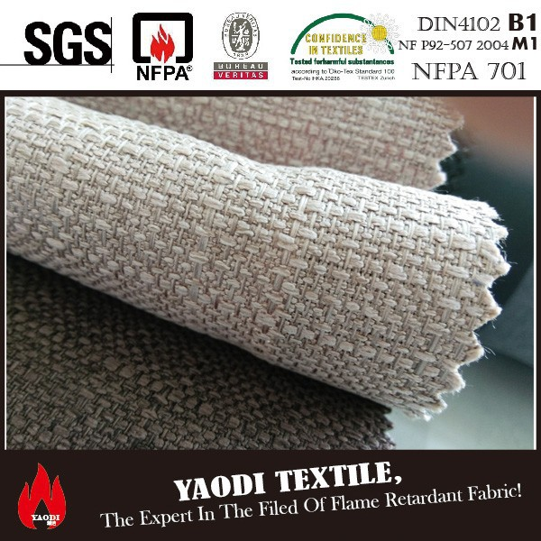 best selling FR jute fabric for sofa passed standard BS5867,NF P M1