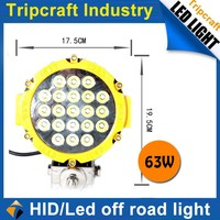 High Power auto round 7inch 63W led work light for 4X4 truck tractor lamp