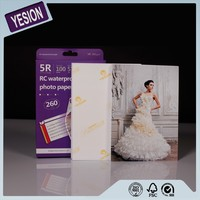 Yesion 2015 Hot Sales! Popular High Quality Premium Waterproof Inkjet Printing RC Satin Photo Paper 260gsm