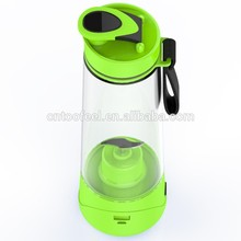Wholesale portable 2000MA green color usb rechargeable juice water bottle