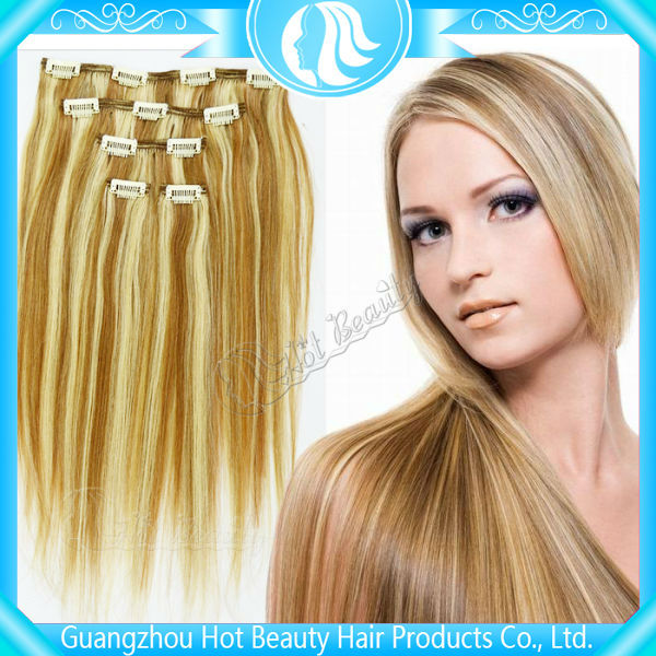 Quality and quantity assured brown/blonde mixed human hair extensions