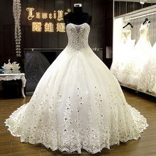 Luxurious Ball Gown Heavy Crystal Beaded Alibaba Wedding Dress