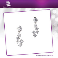 Newest Design Snowflake CZ Fashion Jewelry Piercing Earrings for Women