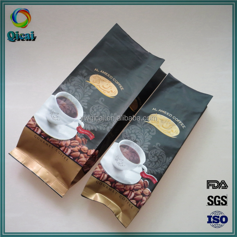 Alibaba china side gusset aluminum foil plastic coffee beans packing bags with valve