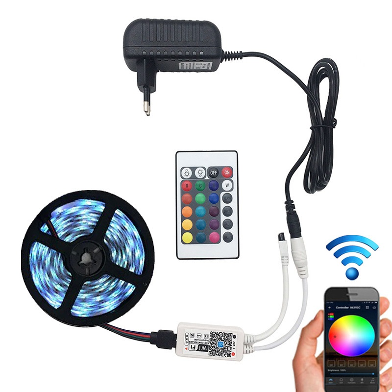 5M 5050 <strong>RGB</strong> WIFI LED Strip light Waterproof <strong>RGB</strong> 5M led ribbon tape Remote Kit