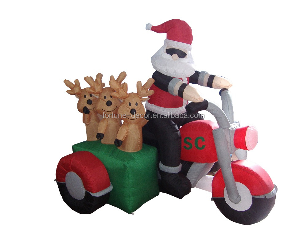 150cm/5ft inflatable santa claus rides a red three wheeled motorcycle with three deers behind for Christmas