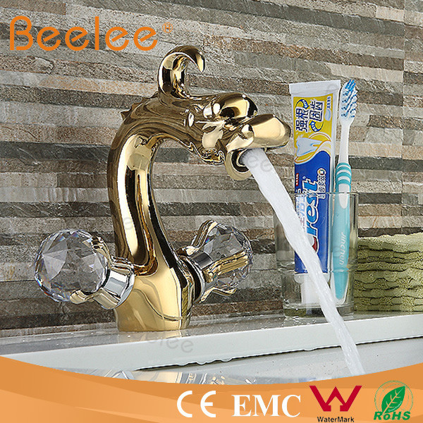 Brass double handle dragon faucet water tap sanitary ware