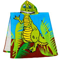 Dinosaur kids hooded beach towel, printed velvet cotton children hooded beach towel, 1- 6 years old