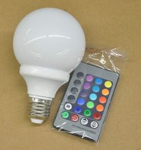 wholesale 3w e27 remote control 16 color rgb led bulb light 120v 100-240v