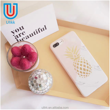 Glossy pink white marble mosaic design case for iphone 7 7plus 6 6s 6plus geometric ripple cute gold pineapple pattern cover