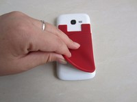 Factory price silicone mobile phone card holder / sticky cell phone credit card holder