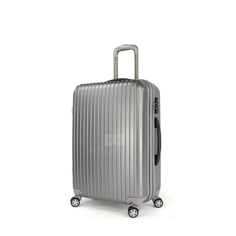 Assorted Sizes Vertical Stripe Silver Girls Hard Shell Luggage