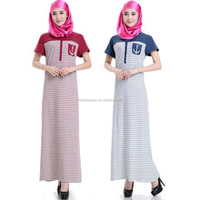 New design Saudi Arabia short sleeve stripe muslim women long dress MSY-41307