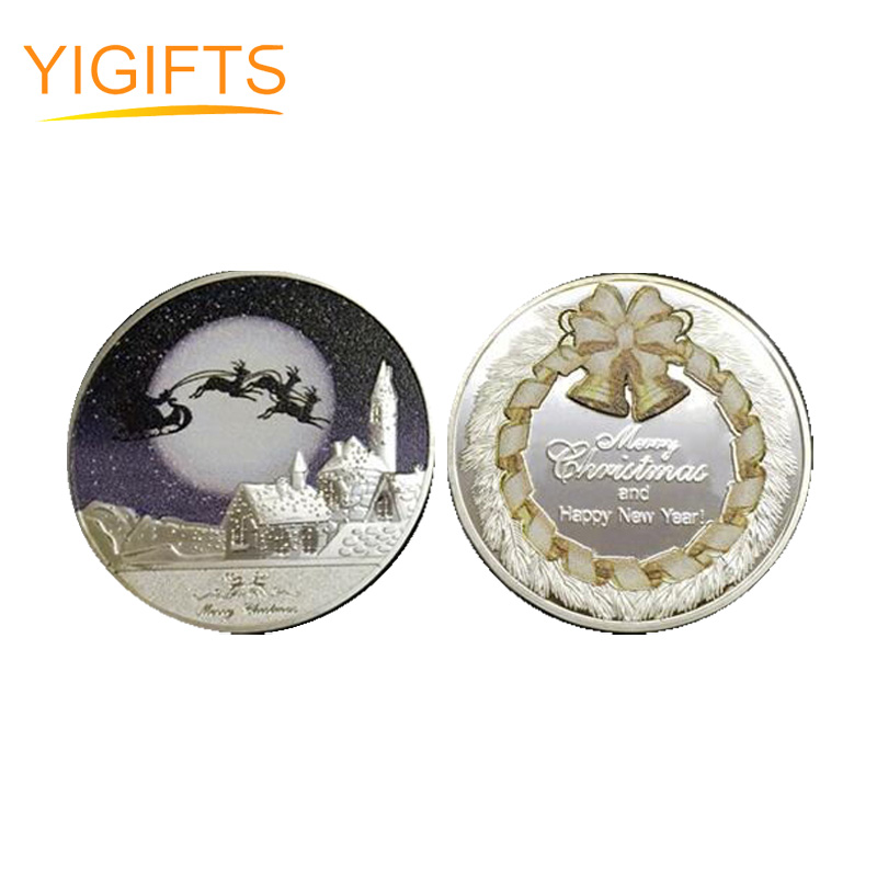 Custom 2018 Merry Christmas New Year Gift Coin Collection Metal Coins With Round Box