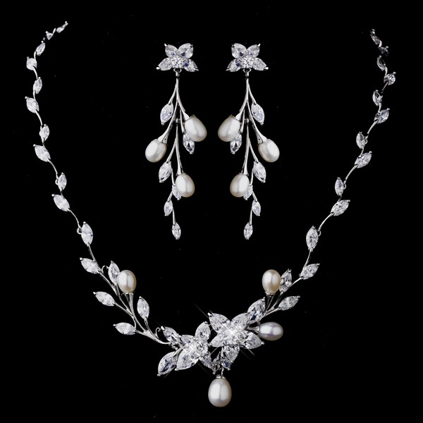 rhinestone pearl wedding bridal necklace set