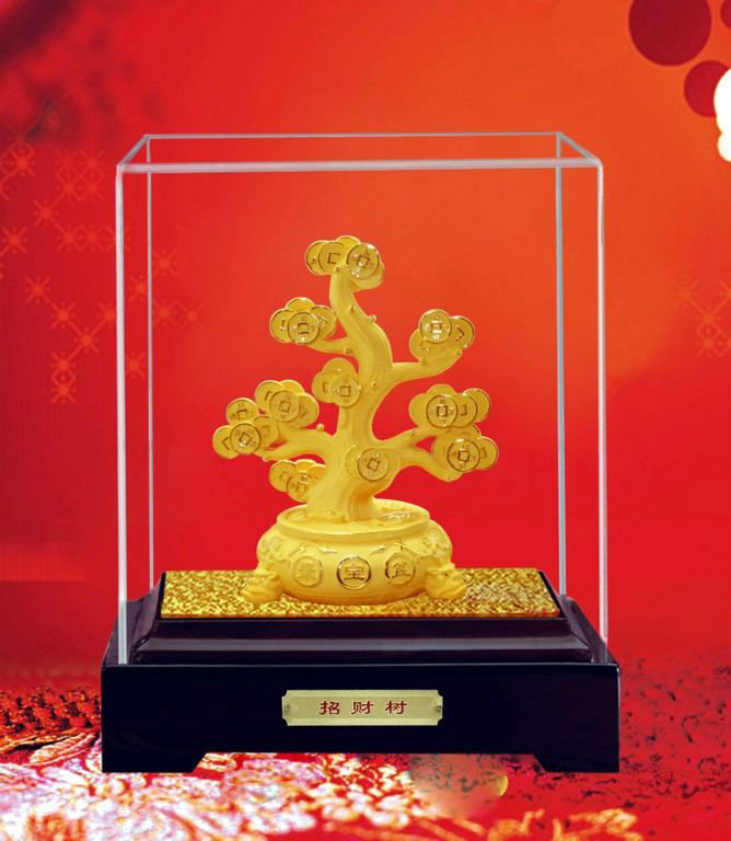 2017 high grade acrylic display cabinet with golden tree inside