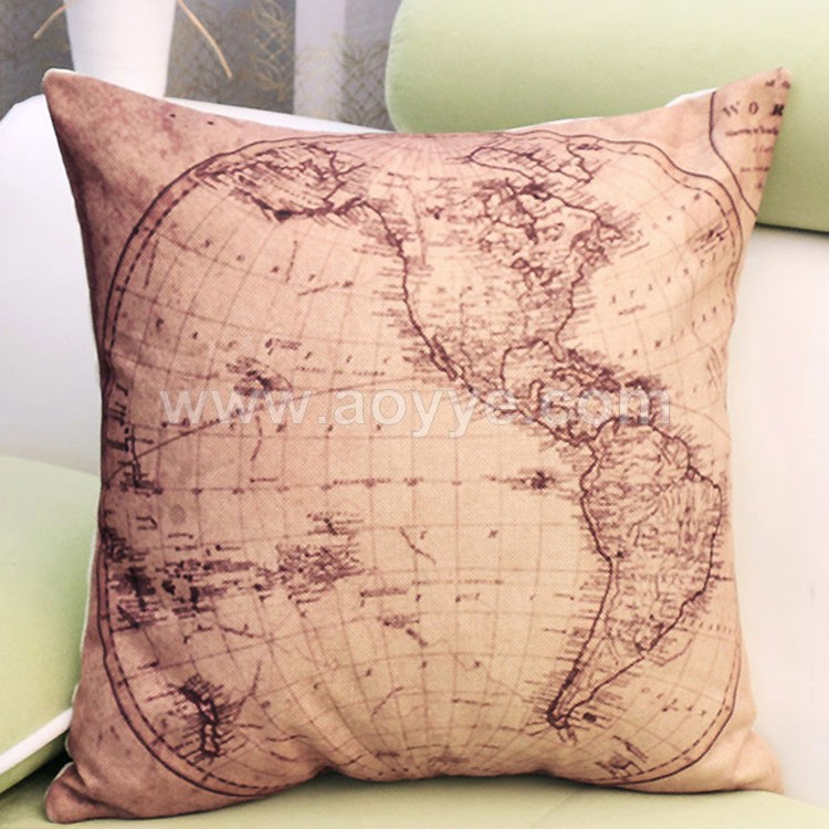 World map decoration sofa cushion hold pillow covers household car pillow fashion cotton and linen cushion cover